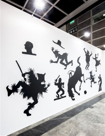Silhouette stereotypes in Walker's 'Auntie Walker's Wall Sampler for Savages' (2013) (Kara Walker)