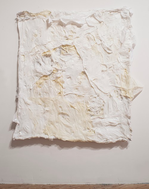 Nathaniel Donnett, Absence, 2013. Plastic bags mounted on canvas. Courtesy the artist. Photo: Paul Hester. Image via camh.org.
