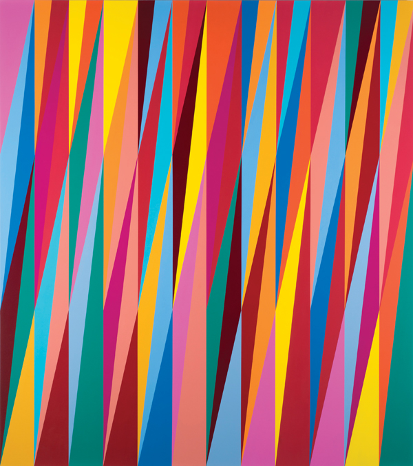 Odili Donald Odita, Firewall, 2013. The Nigerian-born Odili's zigzagging shards of vibrant color suggest colliding cultures and emotions. ©ODILI DONALD ODITA/COURTESY THE ARTIST AND JACK SHAINMAN GALLERY, NEW YORK