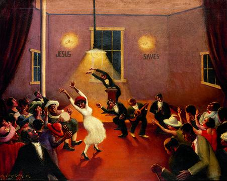 Archibald J. Motley Jr. (1891–1981)  Tongues (Holy Rollers), 1929  Oil on canvas © Valerie Gerrard Browne Collection of Mara Motley, MD, and Valerie Gerrard Browne Image courtesy of the Chicago History Museum, Chicago, Illinois