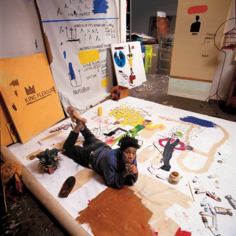 Jean-Michel Basquiat, 1987, in his New York studio (all portraits in the story are previously unpublished).Credit Tseng Kwong Chi © Muna Tseng Dance Projects, Inc., New York