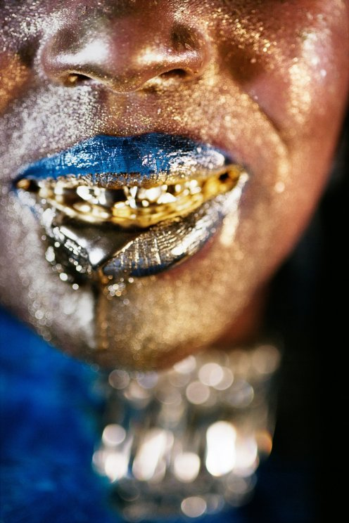 "MARILYN MINTER, ""Wangechi Gold #4,"" 2009 (c-print) via Salon 94."