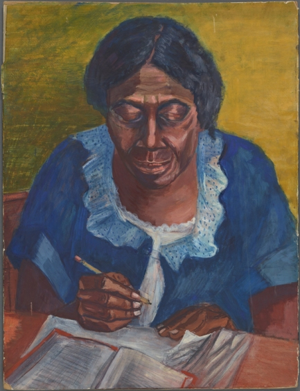 Title: The Writing Lesson | Shulman, Morris (1912-1978) (artist) | Reference: Schomburg Center for Research in Black Culture, Art and Artifacts Division, The New York Public Library.